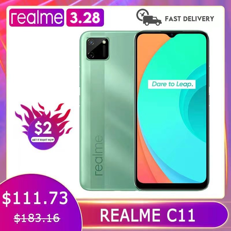 Realme C11 Global Version 2GB 32GB G35 5000mAh Battery 13MP Large Screen Dual AI Camera Official Russian Warranty Mobile Phone