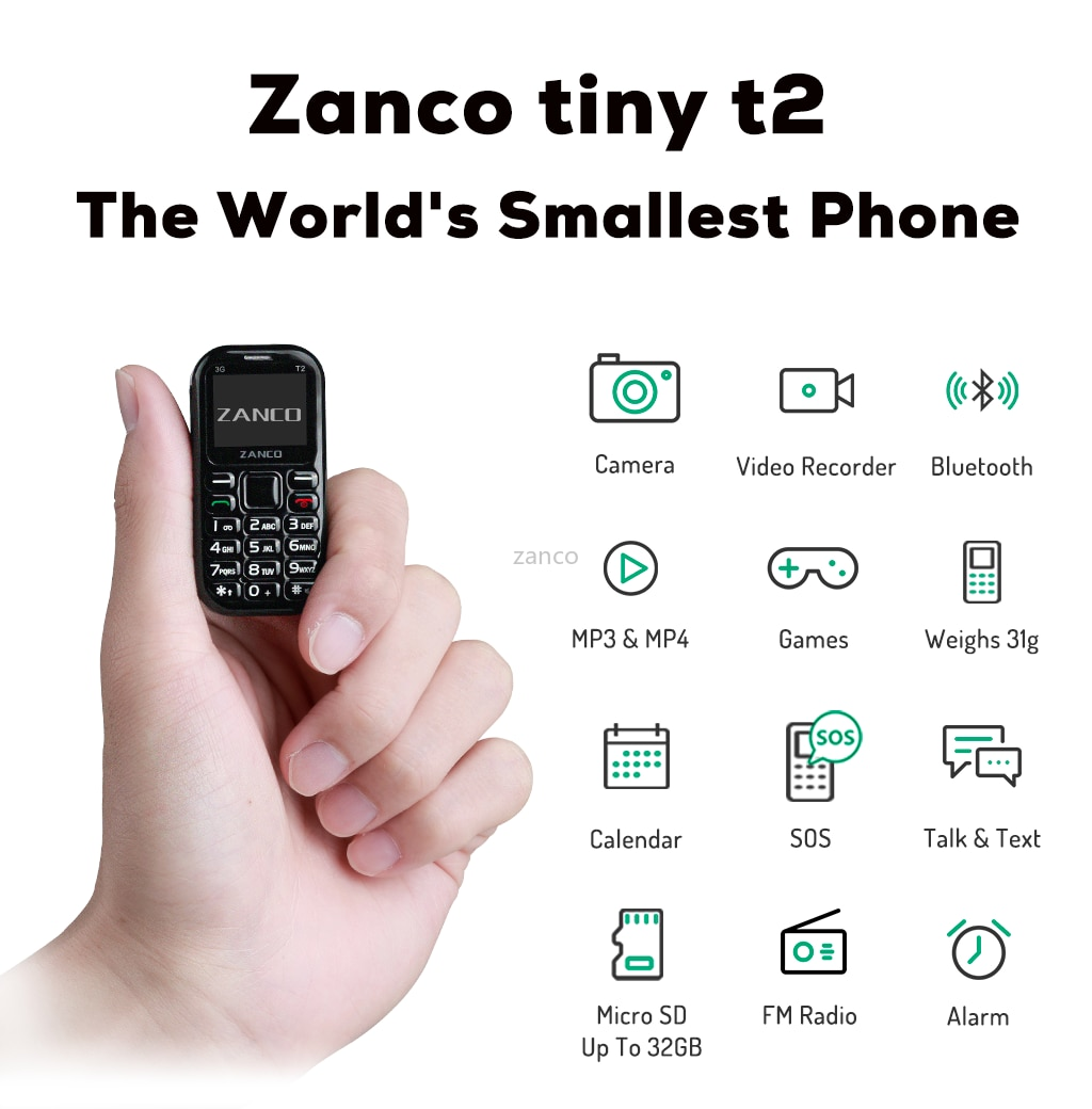 New ZANCO tiny t2 World Smallest Phone 3G WCDMA mini cellular phone mini phone smallest phone pocket phone with free of gift
