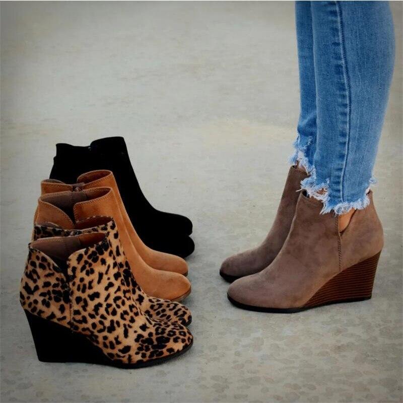 Botas de invierno de leopardo para mujer, botines de tobera con plataforma,...