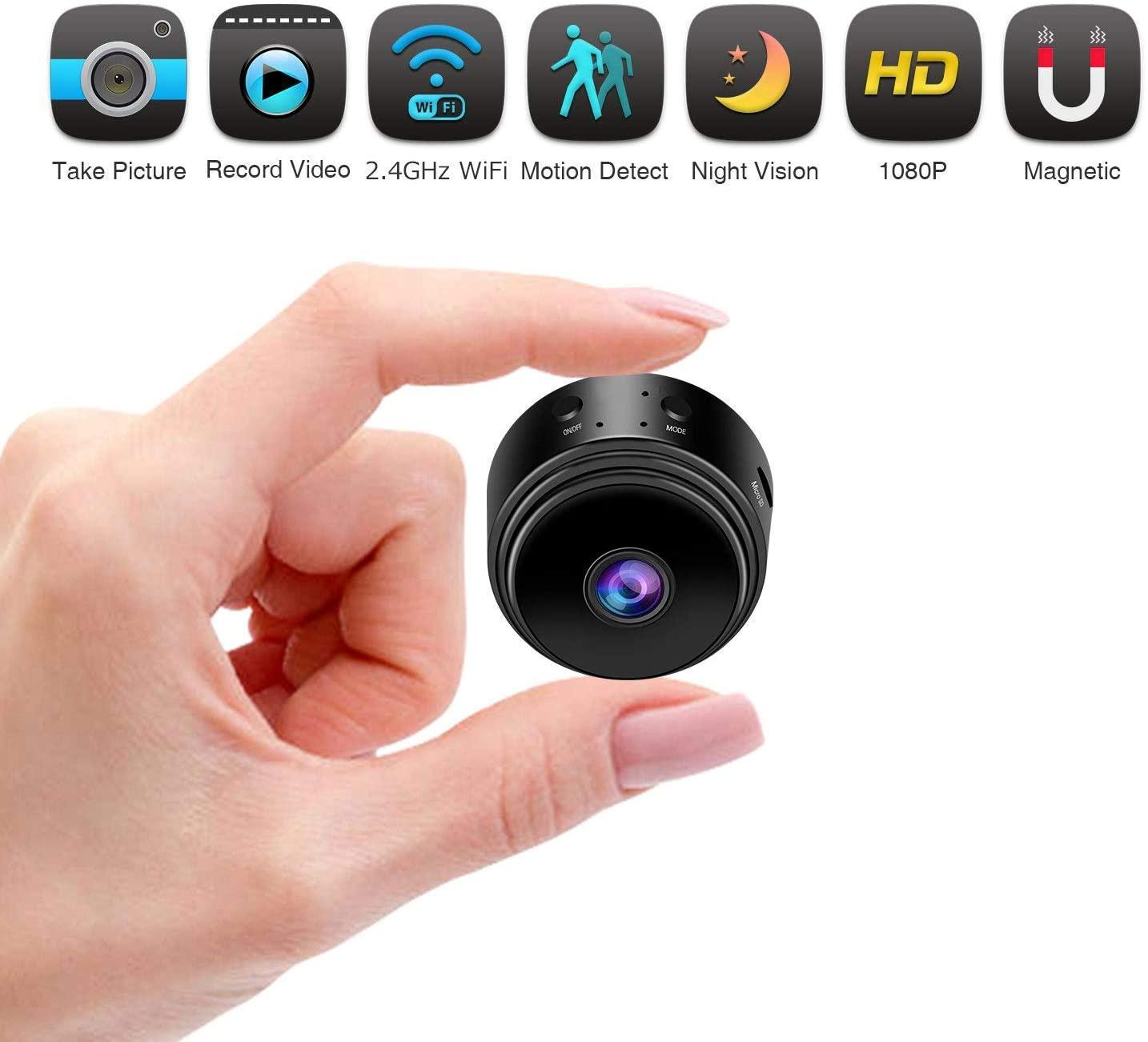 Видеоняня WiFi Беспроводная Full HD 1080P камера безопасности ночного видения с активированным движением внутри помещения, маленькая Няня для авт...