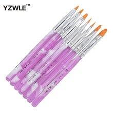 7 pièces/paquet acrylique ongles Art conseils UV Gel constructeur ensemble peinture brosse conception stylo bricolage 21