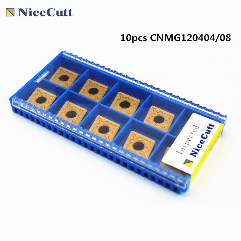 مخرطة إدراج 10 قطعة CNMG120404/CNMG120408-NM كربيد إدراج موضوع تحول أداة قطع أداة عدة المخرطة التصنيع باستخدام الحاسب الآلي Freeshipping