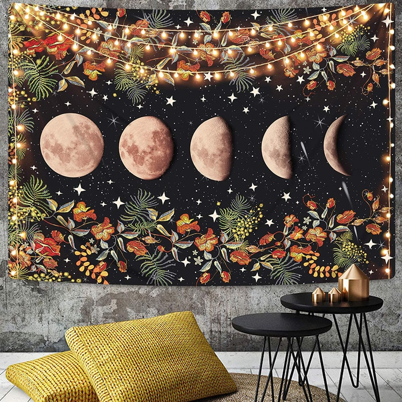 Estrella, sol Luna y flores tapiz colgante de pared antiguo tapiz Hippie tapiz Trippy pared alfombras psicodélicas tapiz