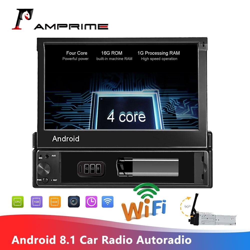 Amprime kit multimídia para carro, 1din, android, rádio, wi-fi, navegação gps, estéreo, bluetooth, rádio, fm, aux usb, player de áudio