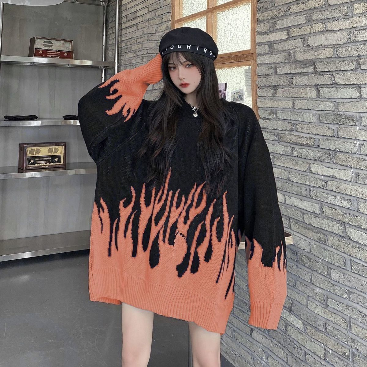 2021 spring new round neck loose sweater female flame jacquard sweater color matching loose ins net red hot selling sweater A077