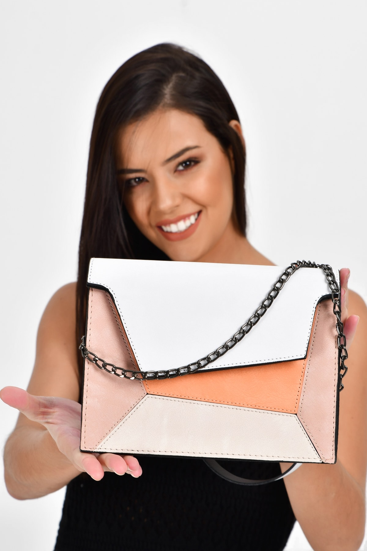 White Women's Piece & Colorful Shoulder Bag