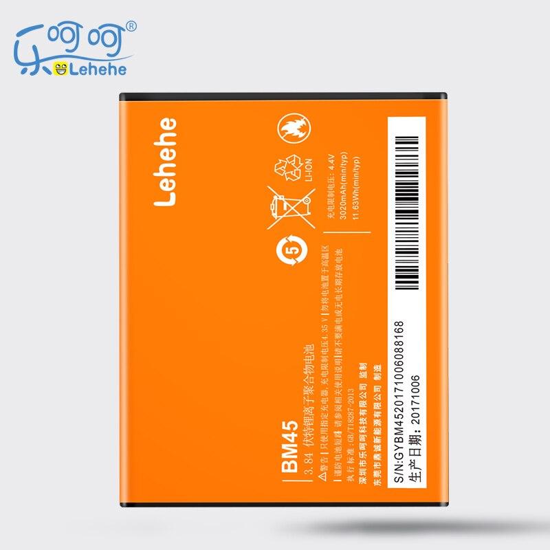 Nueva batería de repuesto Lehehe BM45 para Xiaomi RedMi Hongmi Note2 Red Rice Note 2 3020mAh con herramientas de regalo