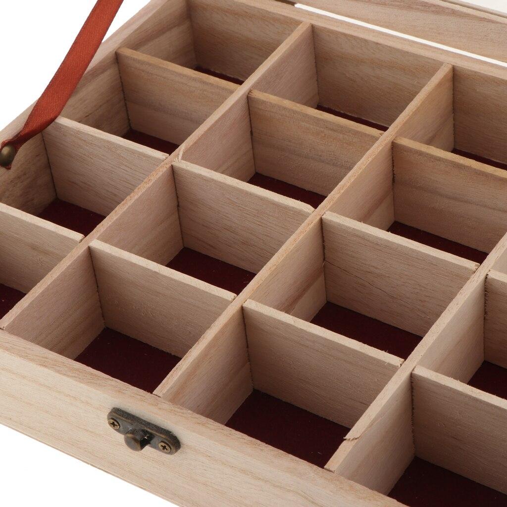 2 uds caja clásica de madera sin terminar con 16 ranuras con tapa de vidrio superior para artes, artesanías, pasatiempos y almacenamiento en el hogar