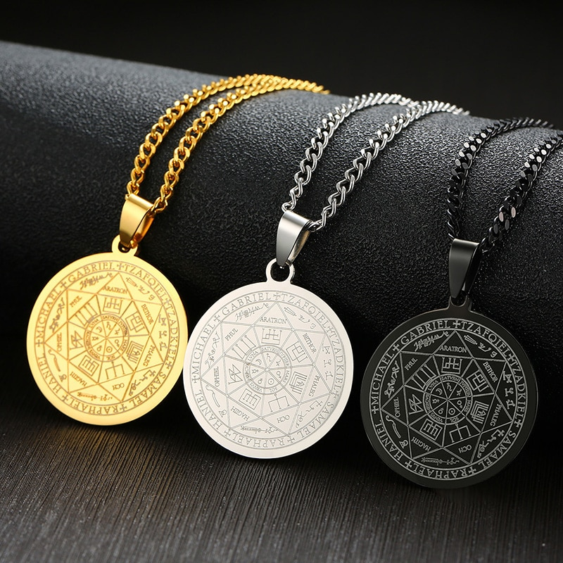AliExpress - Mens's Necklace Stainless Steel the Seals Of Seven Archangels Sigil Pendant Haniel Michael Gabriel Sign