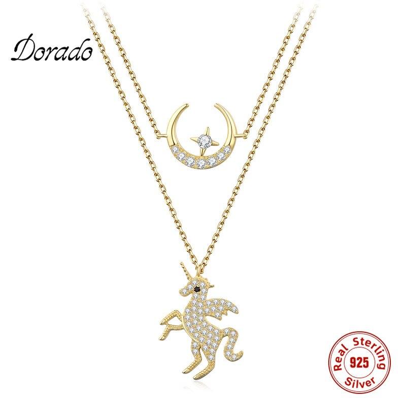 Dorado Plata de Ley 925 auténtica lindo unicornio y estrella de la luna doble capa encanto incrustado circón colgante collar regalo para amante