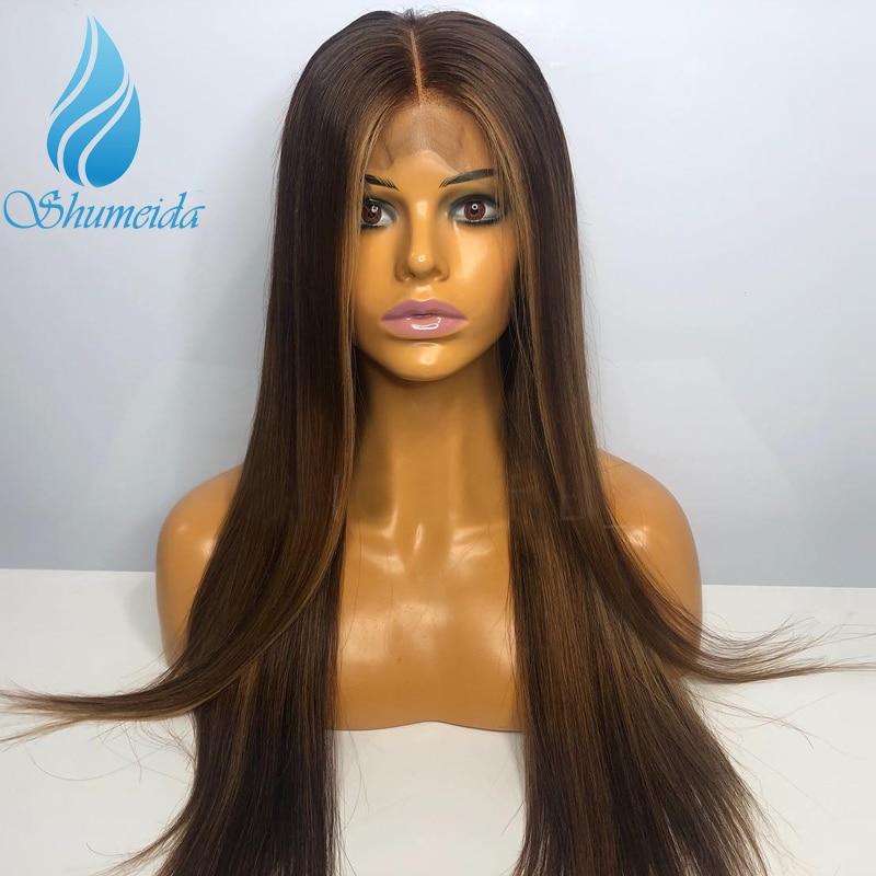 SHD mezcla de Color marrón 13x6 pelucas de encaje frontal con línea de pelo pre-desplumado 150% densidad media relación brasileña recta pelucas de pelo Remy