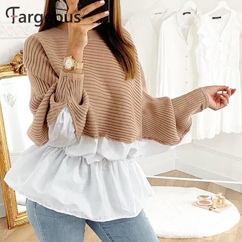 Fargeous Vintage linterna manga suéter péplum mujer Patchwork suéter Casual de gran tamaño Jersey moda Otoño Invierno jerseys