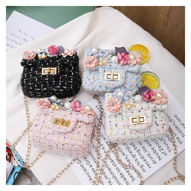 Girl Mini Handbag New Autumn Winter Baby Girls Princess Pearl Messenger Bag Lady Princess Crossbody Bag Clutch Purse 2021