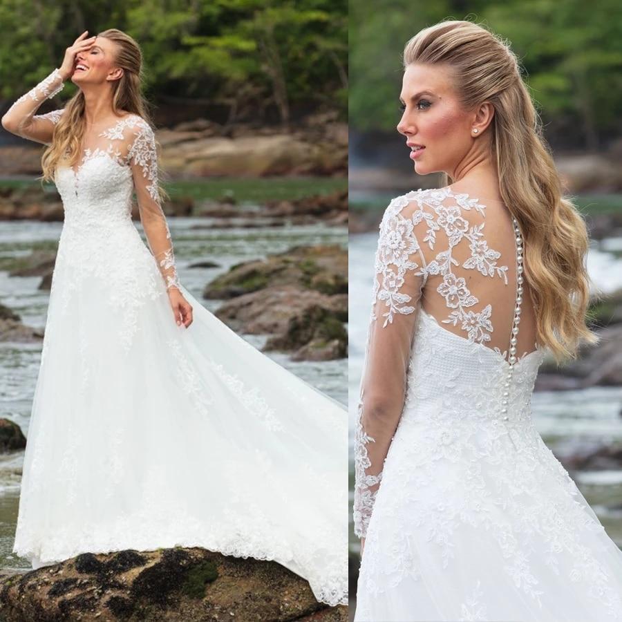 Vestido de cuello redondo, manga larga playa vestido de novia con apliques...