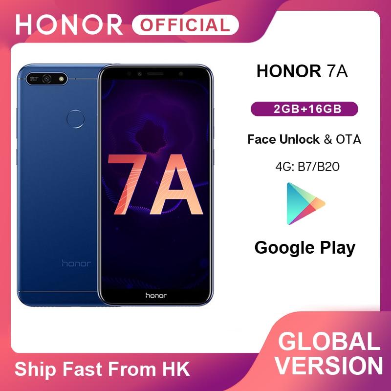 En Stock Honor 7A versión Global Smartphone Google Play 2GB 16GB Snapdragon 430 Octa Core 5,7 pulgadas frente 8.0MP trasero 13.0MP