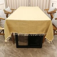 1pcs rectangle tablecloth vintage natural burlap imitated jute linen lace tea coffee table cloth for home kitchen wedding party