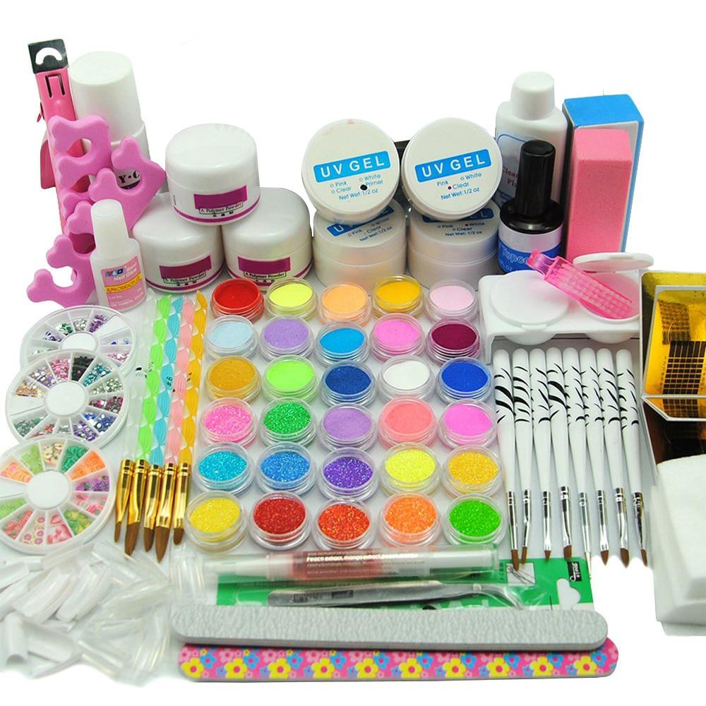 UV Gel Nail Art Kits 36W UV LED Lamp Manicure UV Gel Polish Set French Tips UV Gel Brush Glitter Powder Nail Set