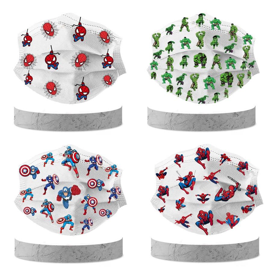 50/10Pcs Disney Marvel Avengers Spider man Children Cartoon Mask 3 Layer Fashion Face Cover Mask Kids mascara