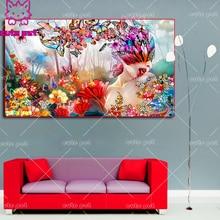 full square diamond painting Beautiful Butterfly Woman embroidery round diamond mosaic paintings Cro