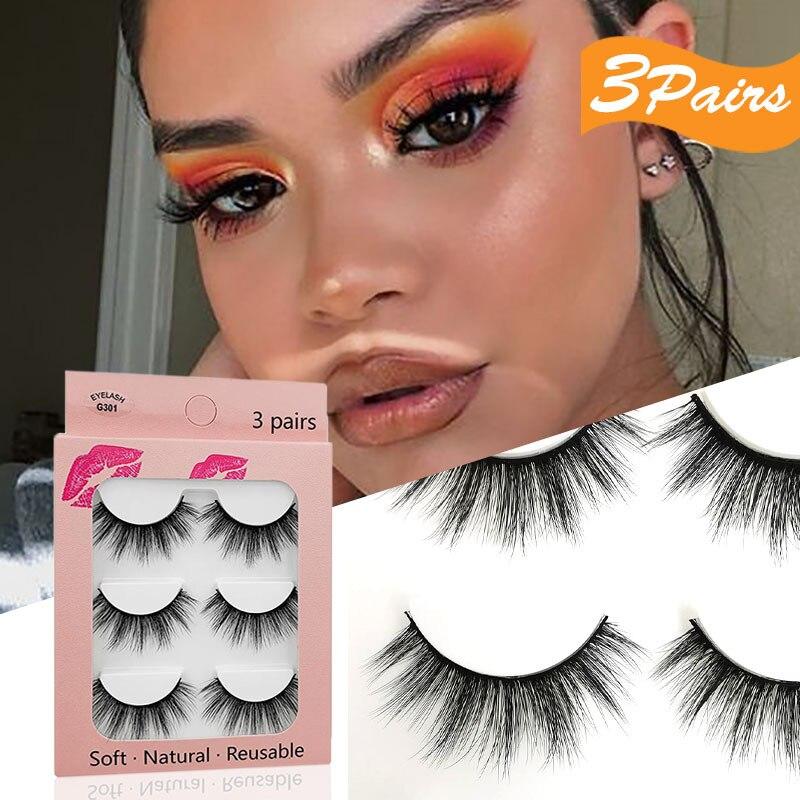 Nuevas pestañas postizas 3D de imitación de pelo de visón 3 pares de pestañas naturales densas herramientas de maquillaje de belleza para alargar pestañas ojos grandes