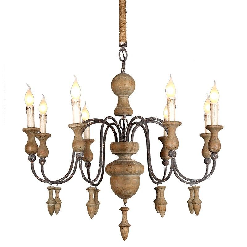 Retro lustres de madeira rústico iluminação retro pendurado cozinha lâmpadas para sala jantar quarto italiano decoração da arte casa lustre ce rohs