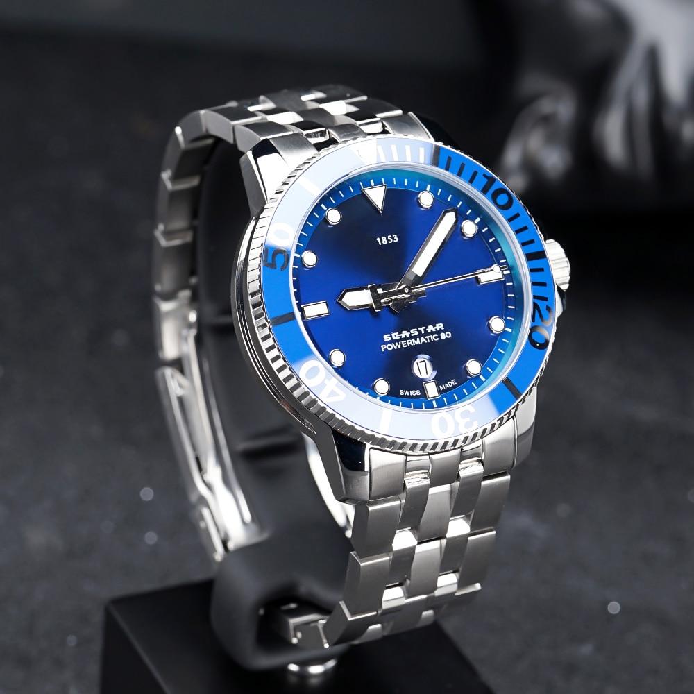 2021 جديد T-Sport Seastar 1000 Powermatic 80 التلقائي الأزرق الهاتفي الرجال Watch-T120.407.11.041.00Waterproof ساعة اليد