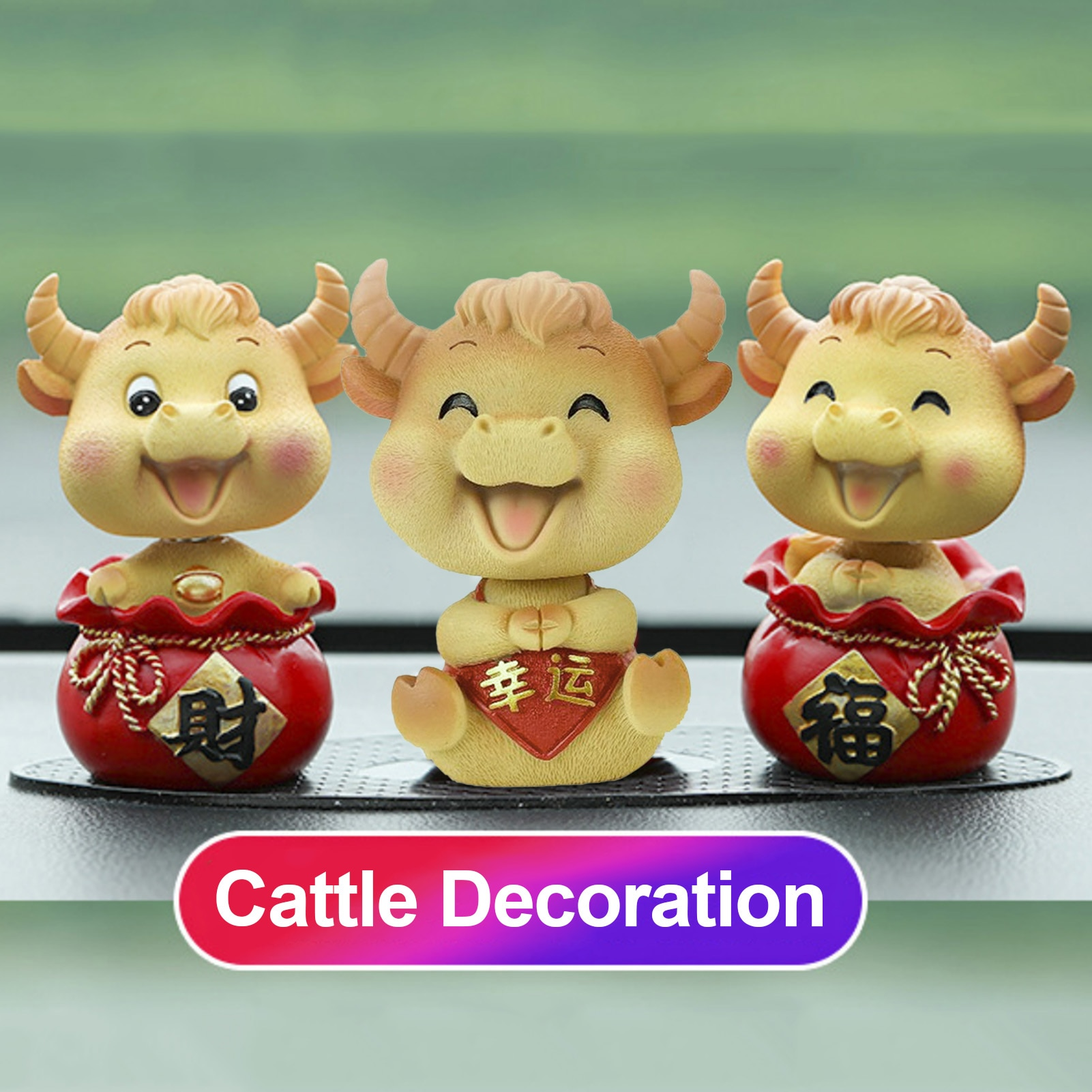 1pc Cute Cattle Decorations Car Ox Toy Ornament DIY Decoration Auspicious New Year Personality Festive Gift Mascot Resin Doll