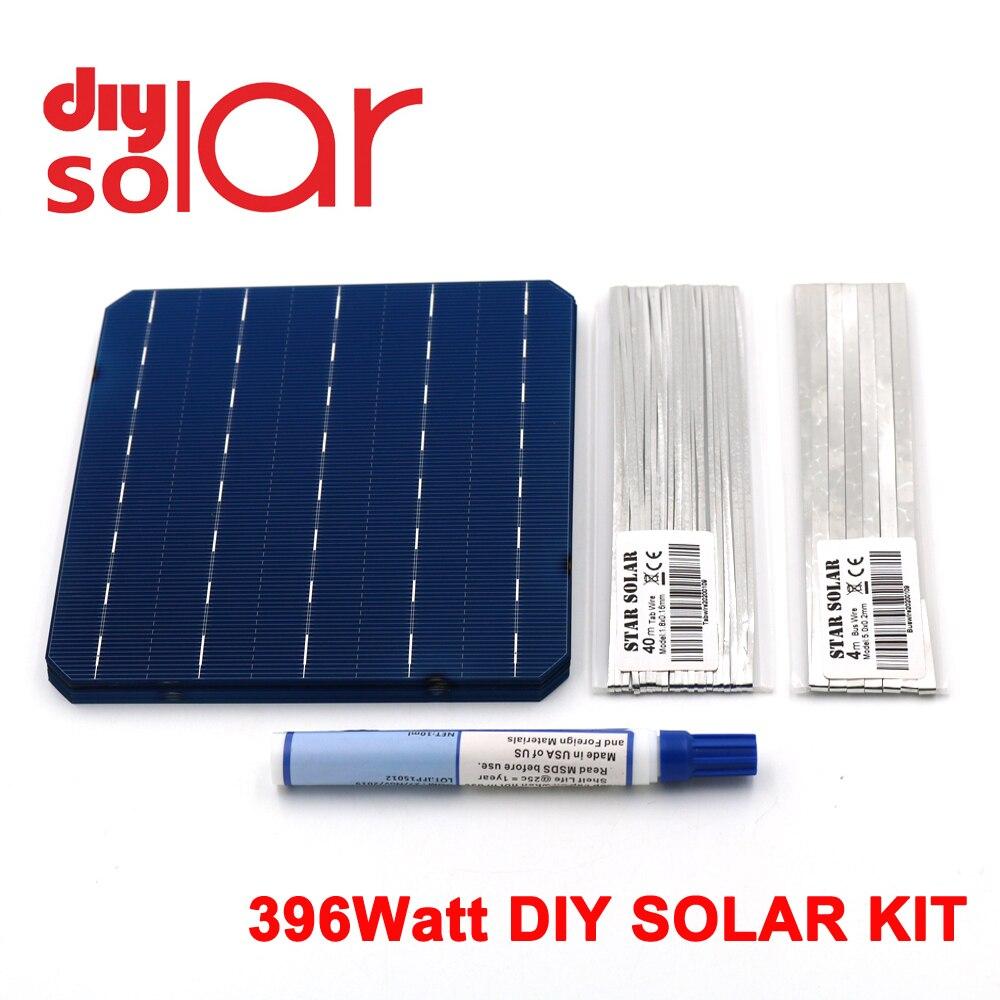 """396Watt Kit DIY Solar Panel 156X156mm Monocrystall Solar Cell 400 W 6X6"""" 100 W Tabbing Wire Buswire Flux Pen 400 WATT Flexible"""