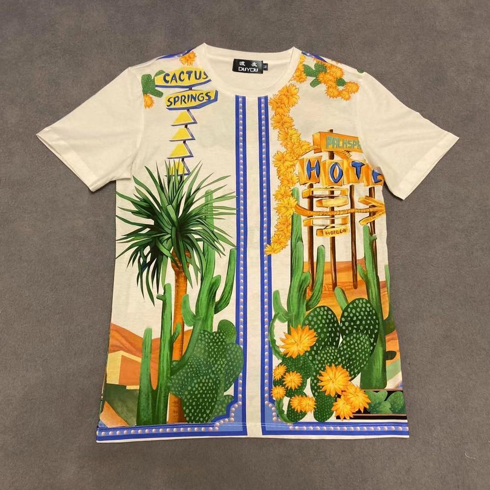 Camiseta Hombre DUYOU Camiseta Hombre girasol cactus elegante impresión multicolor algodón 100% verano Camiseta Hombre Manga Corta