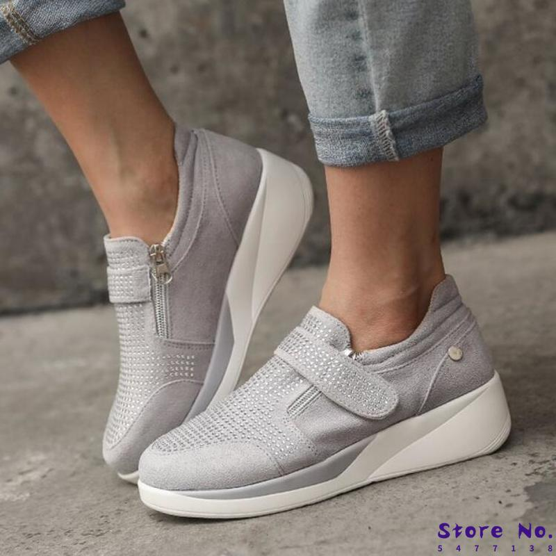 Zapatos de verano para Mujer, tacones medios, cuñas para Mujer brillantes, cristal Deco, ante falso, botines informales para Mujer, zapato femenino H993