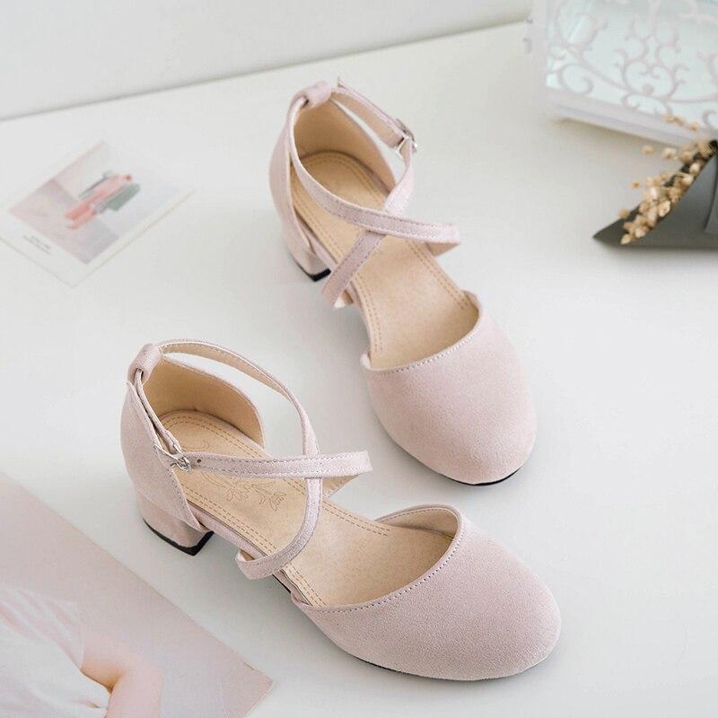 لوليتا أحذية الصيف المشمش سميكة مع الصنادل 4 سنتيمتر عبر الأشرطة باوتو أحذية نسائية مريحة طالب الجنية الحلو