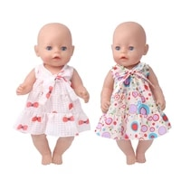 43 cm baby dolls clothes summer bow print dress baby toys skirt fit american 18 inch girls doll f892