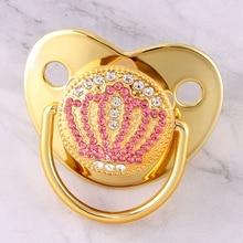 Luxury Bling Rhinestone Gold Baby Pacifier Newborn Infant Pink Crown Silicone Orthodontic Nipple Sleep Soother