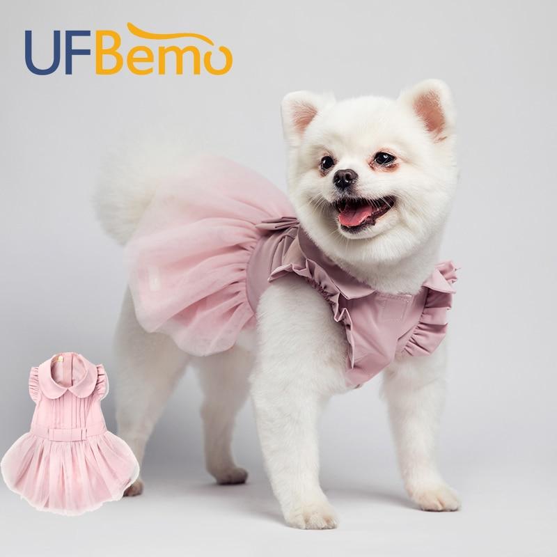 UFBemo Dog Dress Cat Winter Christmas Disfraz Perro for Small Dogs Wedding Dresses Clothes Pet Pink Vestido Chihuahua