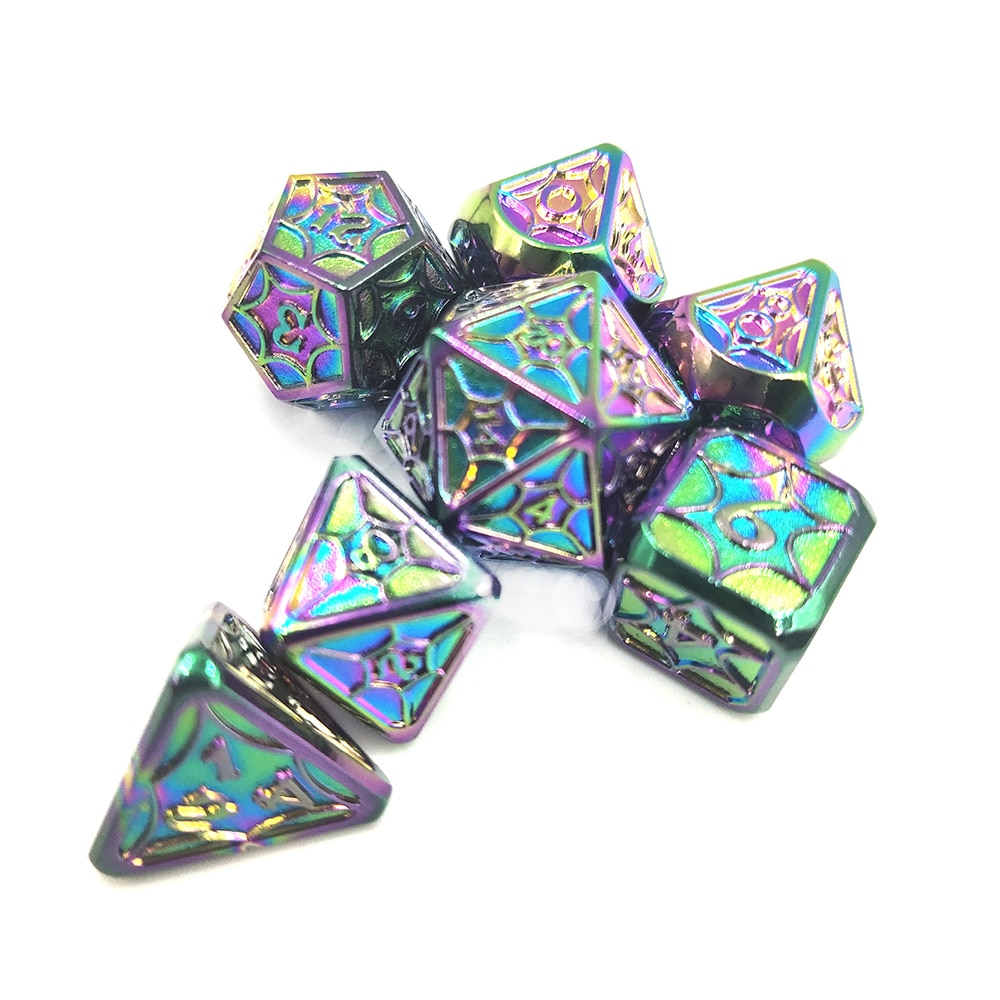 Metal Dice 7pcs Polyhedral Set Toy Card Role Playing Game Purple Digital Luxury Party MTG Pathfinder DND Dice Colorful Laser
