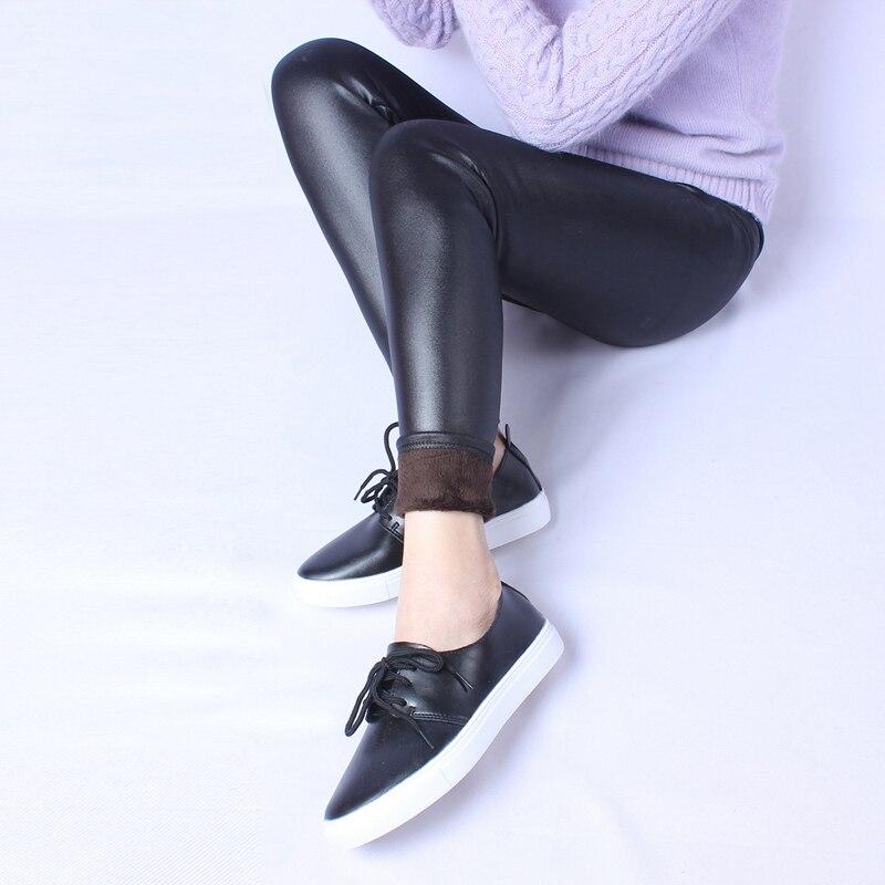 Pantalones cálidos de PU de lana a la moda, pantalones pitillo de piel sintética negros para mujer, pantalones de Invierno para mujer, pantalones de talla grande 6XL