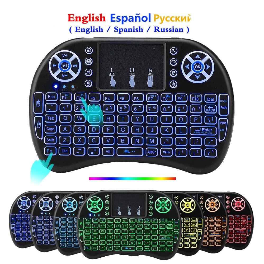 7 colores retroiluminados I8 Mini teclado inalámbrico español ratón 2,4 ghz teclado USB para ordenador portátil Smart TV inglés ruso con Touchpad