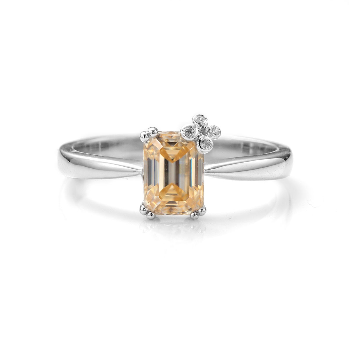 BOEYCJR 925 الفضة 1ct 5*7 مللي متر الزمرد قص الشمبانيا مويسانيتي VVS1 المشاركة خاتم الماس الزفاف للنساء