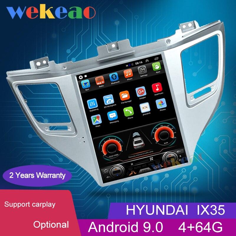 "Wekeao 10,4 ""Pantalla Vertical estilo Tesla 1 Din Android 9,0 reproductor de DVD del coche para Hyundai Tucson IX35 Auto navegación GPS 4G"