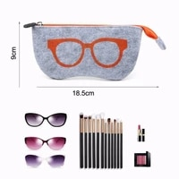 fashion portable wool felt cloth glasses bag soft zipper sunglass eyeglasses cases box pen students cosmetic bags
