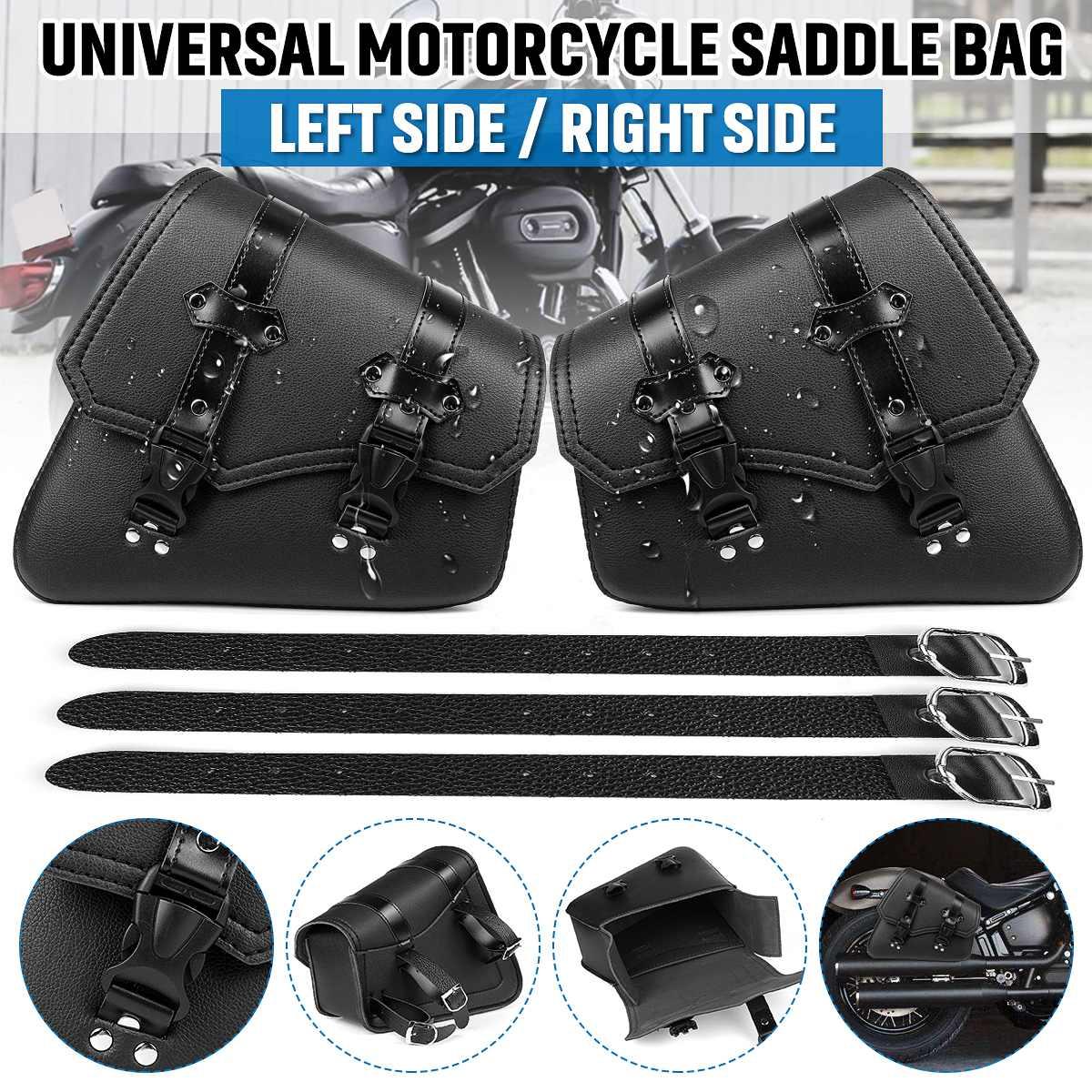 Motorcycle Saddlebags Side Tool Bag PU Leather Luggage Saddle Bag Pouch Black Universal