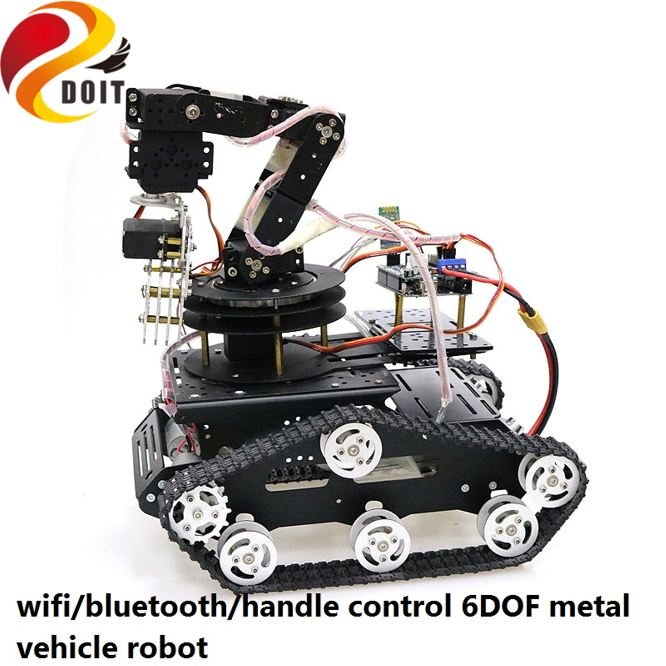 SZDOIT Wifi/Bluetooth/Handle Control Full Metal 6-Axis Robotic Arm With Gripper +Y100 Tracked Tank C