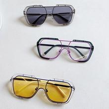 2021 Fashion Sunglasses Women Square Transparent Frame Big Siamese Lens Lunette De Soleil Femme Gift