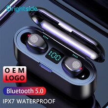 TWS Bluetooth 5.0 Earphones with Microphone Waterproof Headset Noise Cancelling 8D Stereo Touch Head