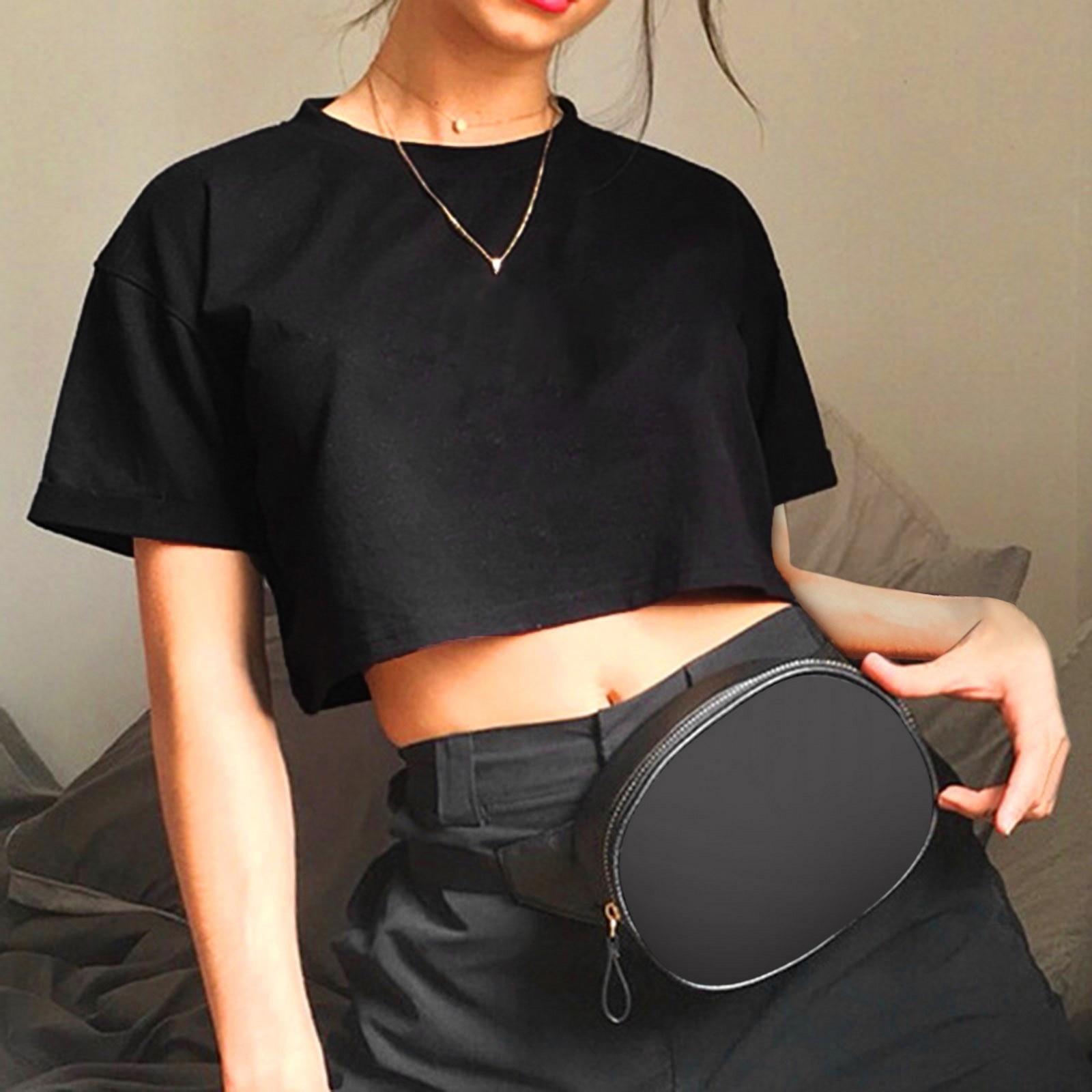 aliexpress - Harajuku Funny Women Crop Tops Casual Black Femme Navel T-shirt Round Neck Short Loose Tee Shirt Summer Streetwear