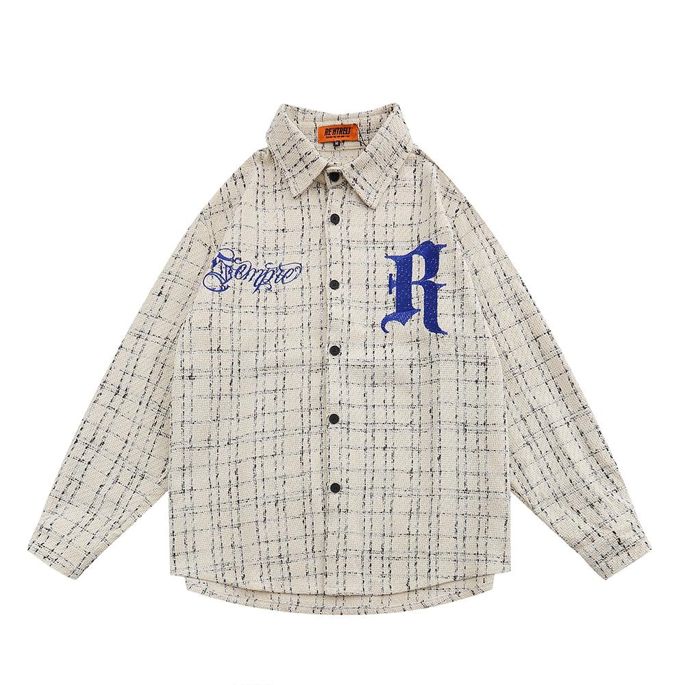 صغيرة منقوشة قميص بأكمام طويلة رجالي الخريف إلكتروني التطريز منقوشة قميص التلبيب فضفاض عادية قمصان مربعة النقش الرجال