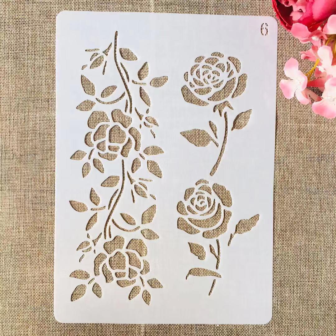 1Pcs A4 29*21cm Rose Flower DIY Layering Stencils Painting Scrapbook Coloring Embossing Album Decorative Template