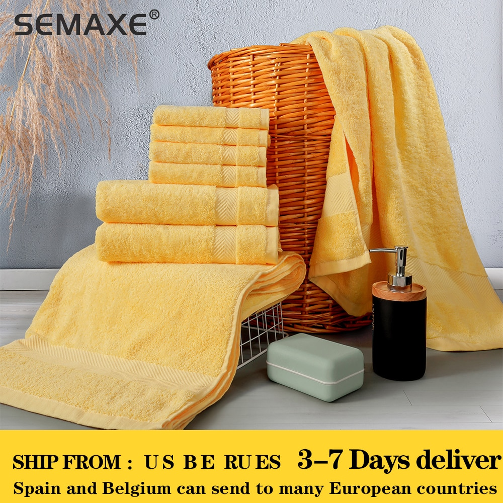 مجموعة فوط استحمام فاخرة من سيماكس ، 2 فوط استحمام كبيرة ، 2 مناشف يدوية ، 4 مناشف. مناشف حمام قطنية عالية الامتصاص (عبوة من 8)