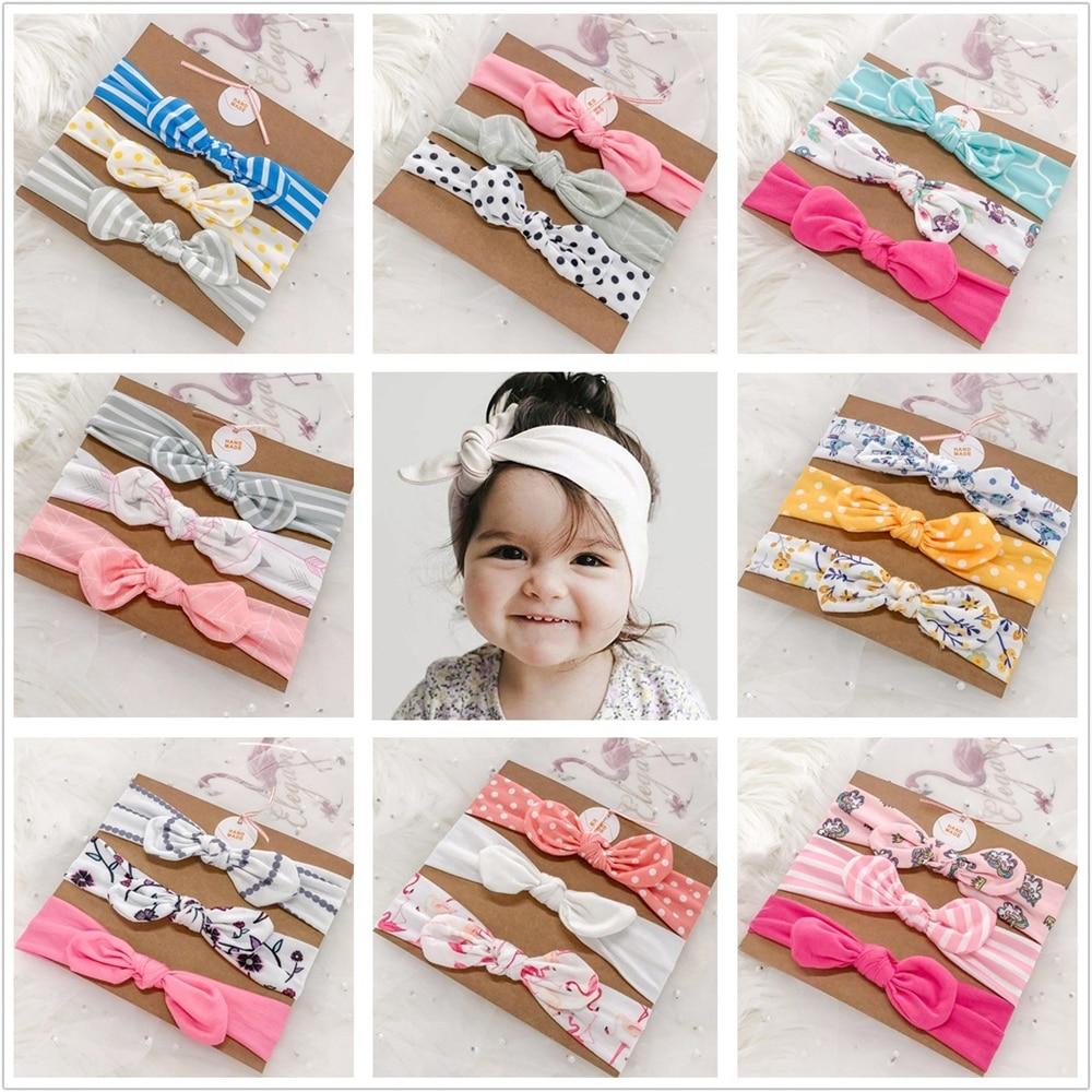AliExpress - 3pcs/set Baby Headband Girls Hair Accessories Cotton Rabbit Ear Turban Bow Elastic Hairband Baby Princess Christmas Day Gifts