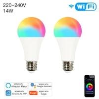 WiFi Smart LED Blub E27 Dimmable Lamp 14W RGBCW Smart Life Tuya App 220-240V Remote Control Work with Alexa Echo Google Home